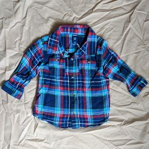 Plaid Button Up Long Sleeve Collared Dress Shirt